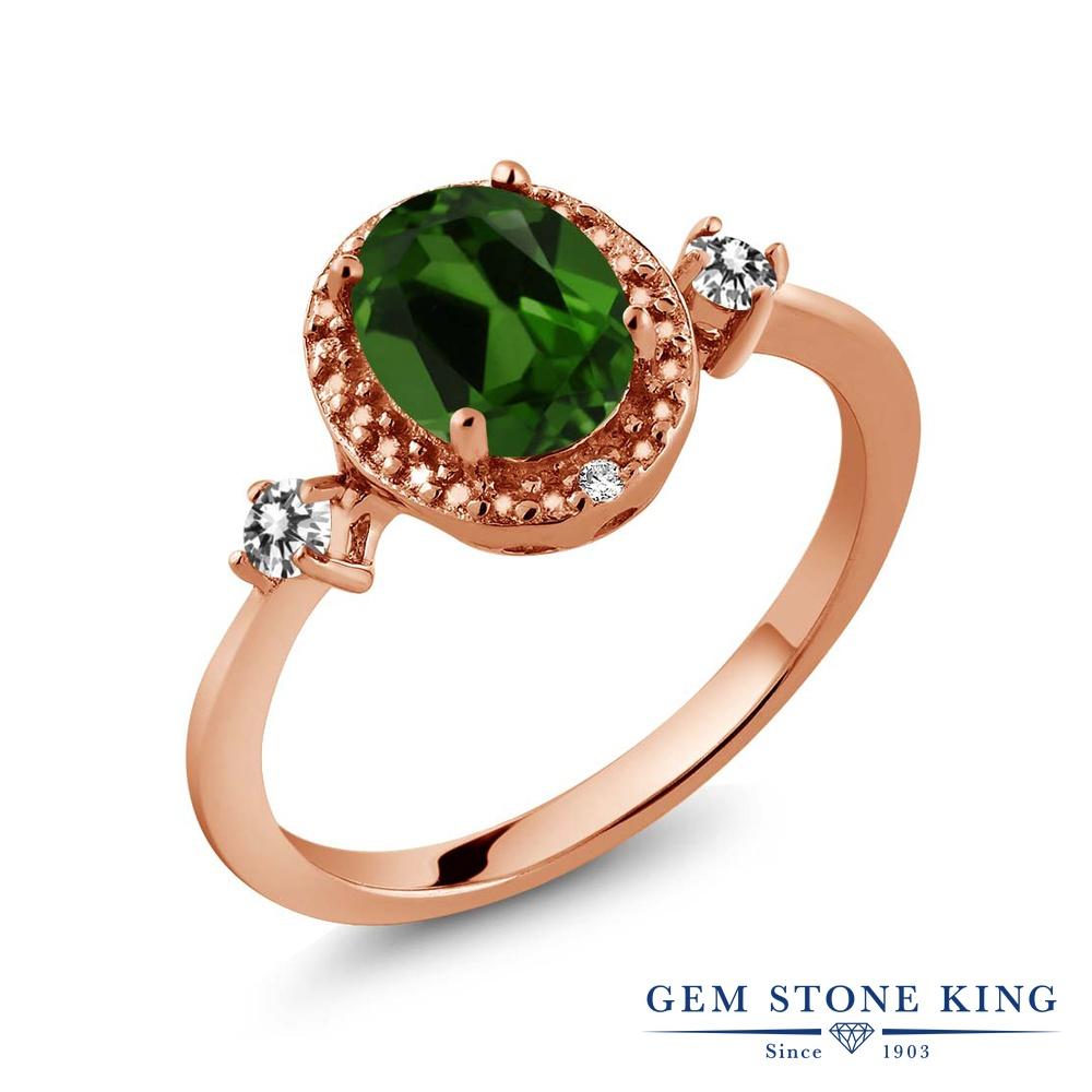 Gem Stone King 1.34カラット 天然 クロムダイオプサイド 天然 ダイヤモンド シルバー925 ピンクゴールドコーティング 指輪 リング レディース 大粒 ヘイロー 天然石 金属アレルギー対応 誕生日プレゼント