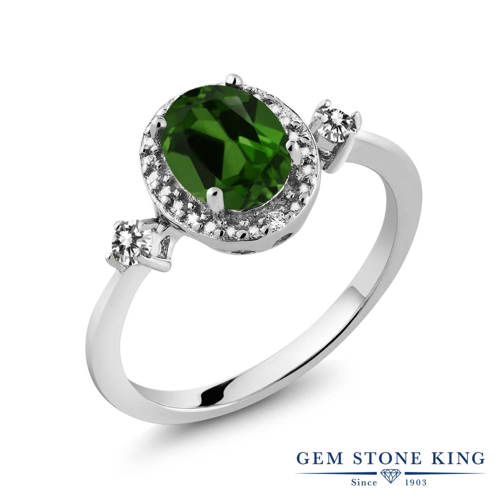 Gem Stone King 1.34カラット 天然 クロムダイオプサイド 天然 ダイヤモンド シルバー925 指輪 リング レディース 大粒 ヘイロー 天然石 金属アレルギー対応 誕生日プレゼント