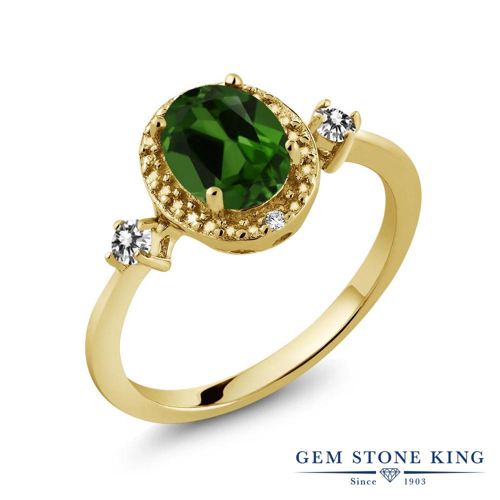 Gem Stone King 1.34カラット 天然 クロムダイオプサイド 天然 ダイヤモンド シルバー925 イエローゴールドコーティング 指輪 リング レディース 大粒 ヘイロー 天然石 金属アレルギー対応 誕生日プレゼント