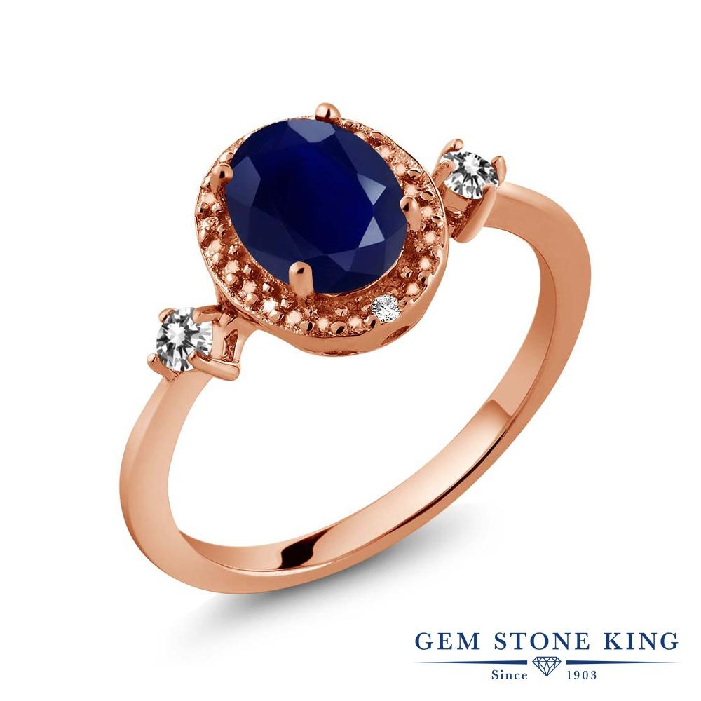 Gem Stone King 1.93カラット 天然 サファイア 天然 ダイヤモンド シルバー925 ピンクゴールドコーティング 指輪 リング レディース 大粒 ヘイロー 天然石 9月 誕生石 金属アレルギー対応 誕生日プレゼント