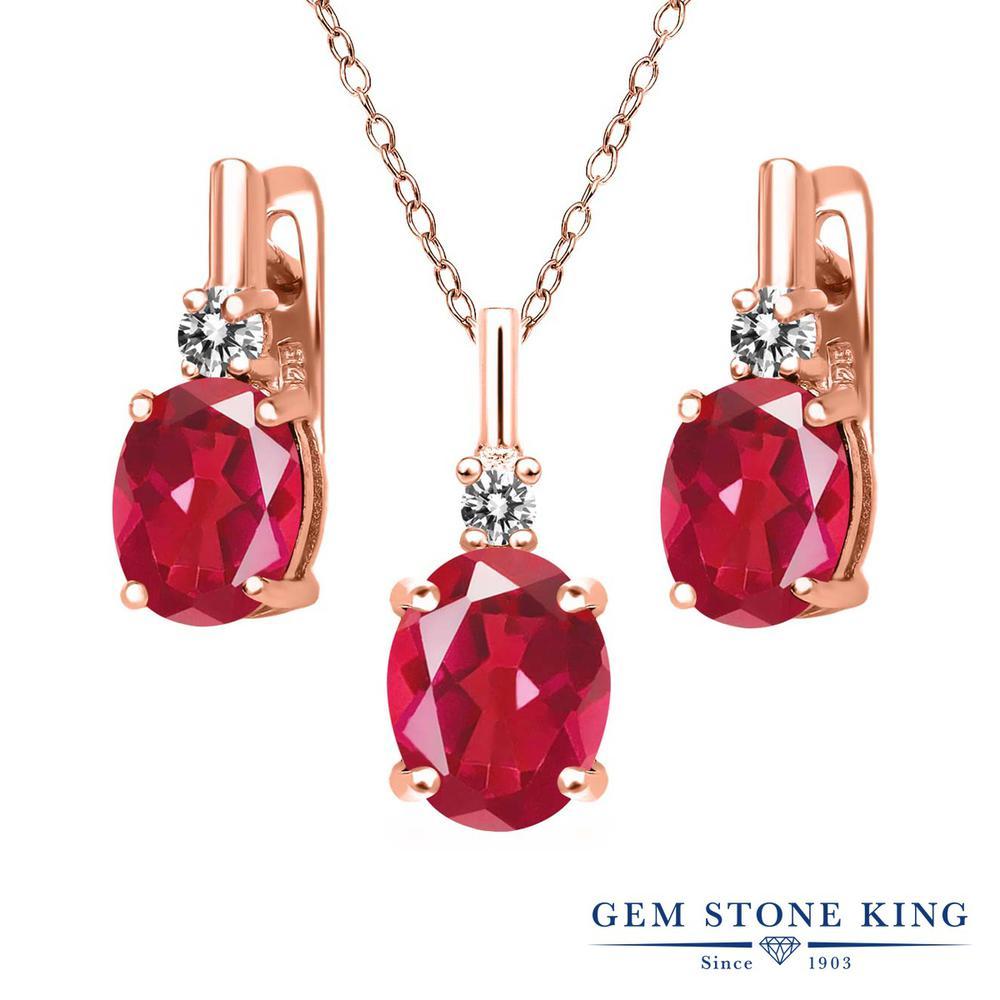 Gem Stone King 6.97カラット 天然石 ミスティッククォーツ(ピンク) シルバー 925 ローズゴールドコーティング 天然ダイヤモンド ペンダント&ピアスセット レディース 大粒 天然石 誕生日プレゼント