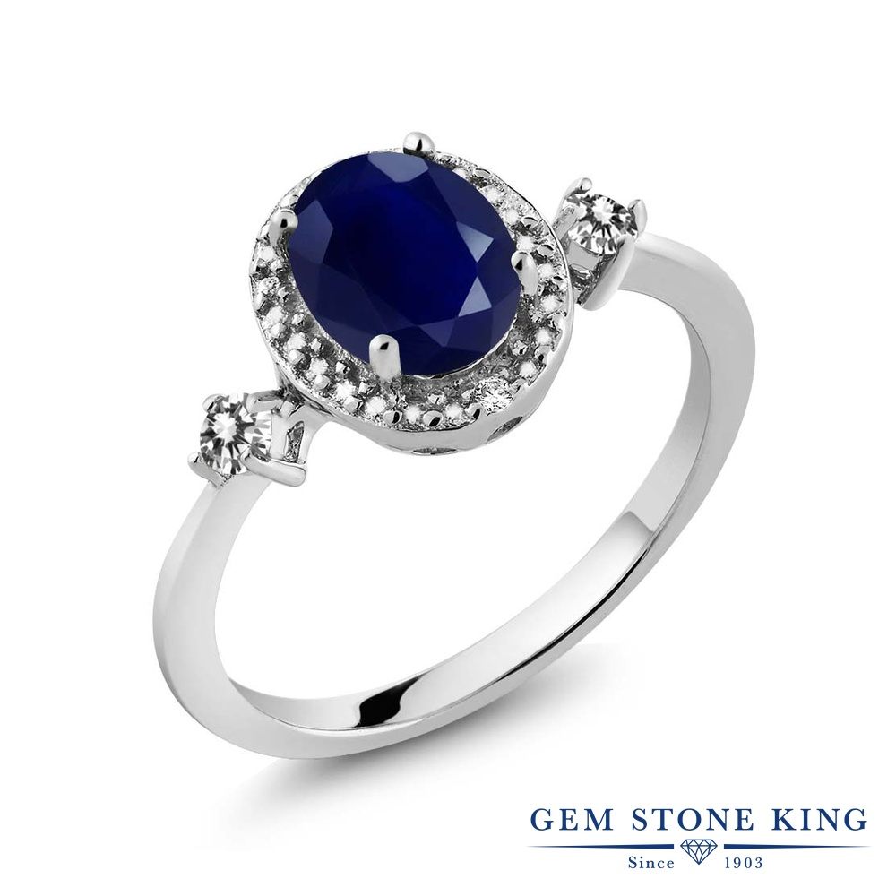 1.93カラット 天然 サファイア 指輪 レディース リング ダイヤモンド シルバー925 ブランド おしゃれ 青 大粒 ヘイロー 天然石 9月 誕生石 プレゼント 女性 彼女 妻 誕生日