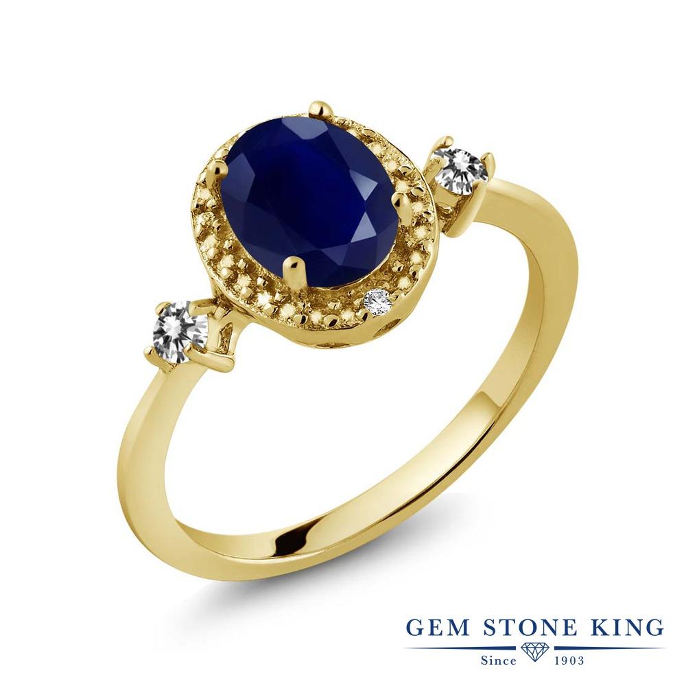 Gem Stone King 1.93カラット 天然 サファイア 天然 ダイヤモンド シルバー925 イエローゴールドコーティング 指輪 リング レディース 大粒 ヘイロー 天然石 9月 誕生石 金属アレルギー対応 誕生日プレゼント