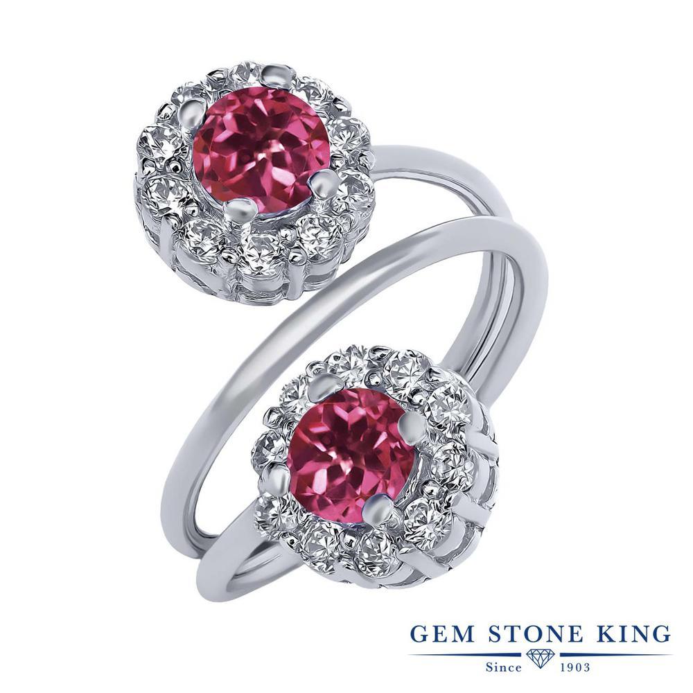Gem Stone King 1.6カラット AAAグレード 天然 ピンクトルマリン シルバー925 指輪 リング レディース 小粒 ダブルストーン 天然石 金属アレルギー対応 誕生日プレゼント