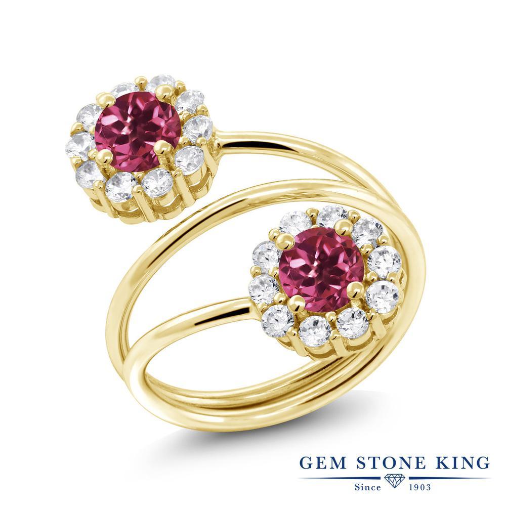 Gem Stone King 1.6カラット 天然 ピンクトルマリン シルバー925 イエローゴールドコーティング 指輪 リング レディース 小粒 ダブルストーン 天然石 10月 誕生石 金属アレルギー対応 誕生日プレゼント