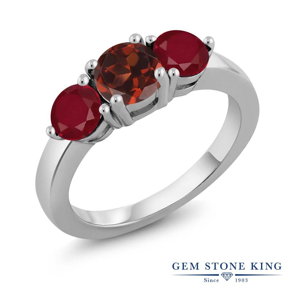 Gem Stone King 2.12カラット 天然 ガーネット 天然 ルビー シルバー925 指輪 リング レディース 大粒 シンプル スリーストーン 天然石 1月 誕生石 金属アレルギー対応 誕生日プレゼント