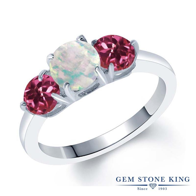 Gem Stone King 1.65カラット シミュレイテッド ホワイトオパール AAグレード 天然 ピンクトルマリン シルバー925 指輪 リング レディース シンプル スリーストーン 10月 誕生石 金属アレルギー対応 誕生日プレゼント