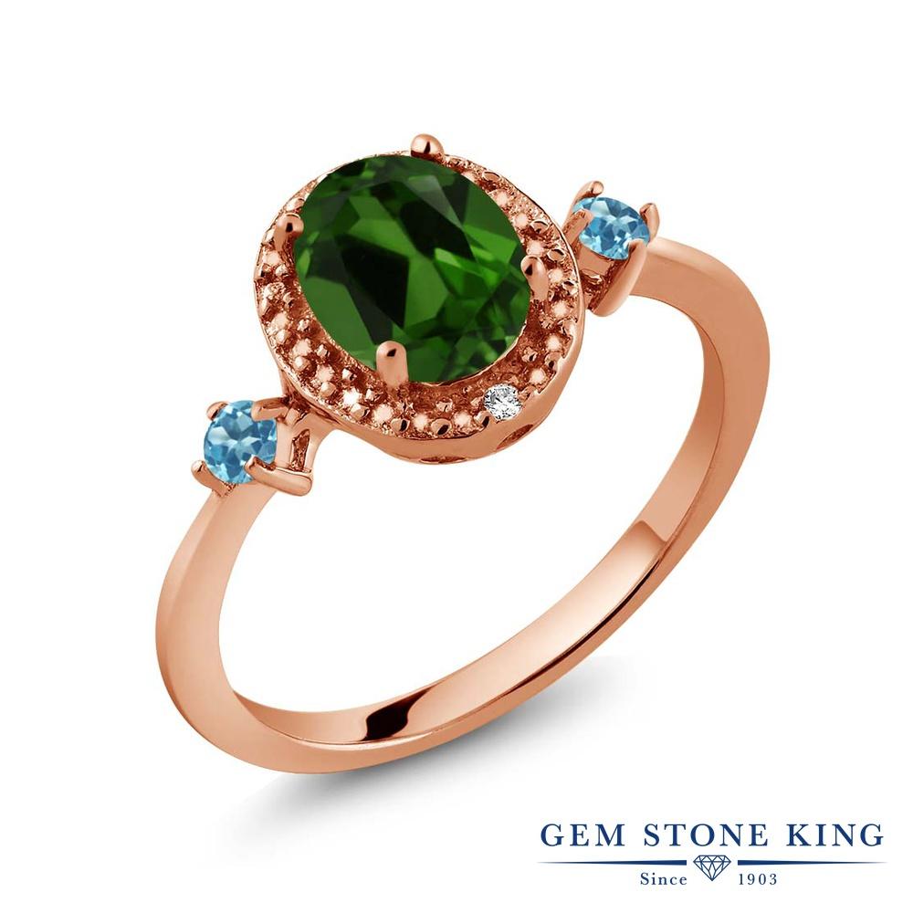 緑 ダイヤモンド 加工 ピンクゴールド クロムダイオプサイド 大粒 おしゃれ ヘイロー スカイブルートパーズ シルバー925 リング ブランド シミュレイテッド 天然 レディース 1.37カラット 指輪 天然石 金属アレルギー対応
