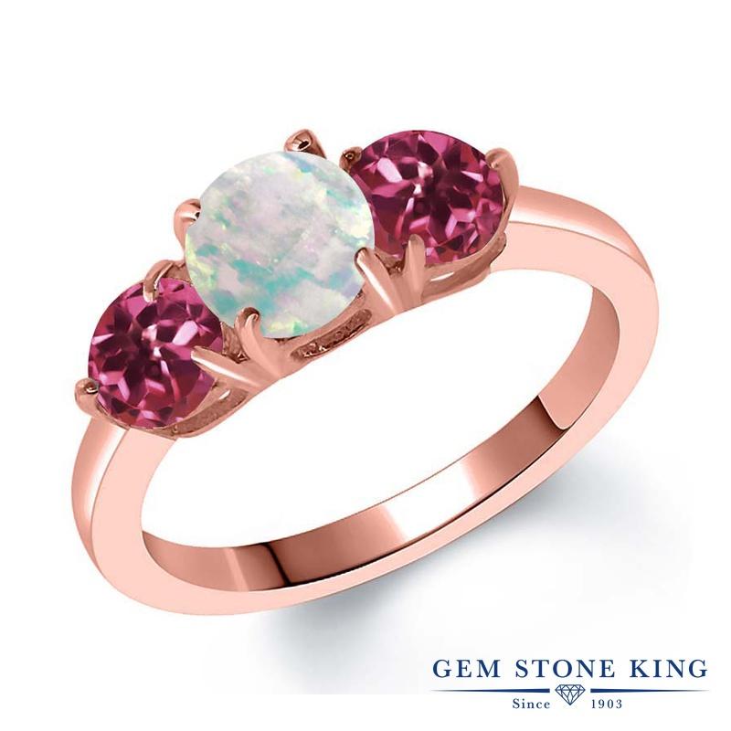 Gem Stone King 1.65カラット シミュレイテッド ホワイトオパール AAAグレード 天然 ピンクトルマリン シルバー925 ピンクゴールドコーティング 指輪 リング レディース シンプル スリーストーン 10月 誕生石 金属アレルギー対応 誕生日プレゼント