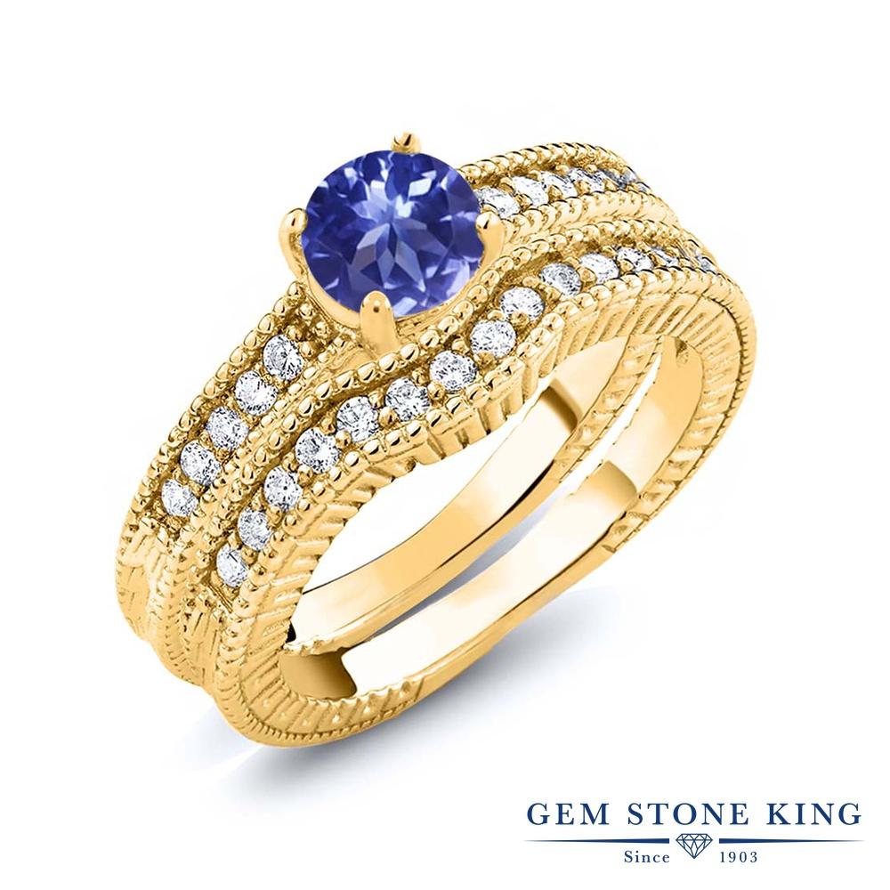 Gem Stone King 1.15カラット シルバー925 イエローゴールドコーティング 指輪 リング レディース エンハンサー 天然石 金属アレルギー対応 誕生日プレゼント