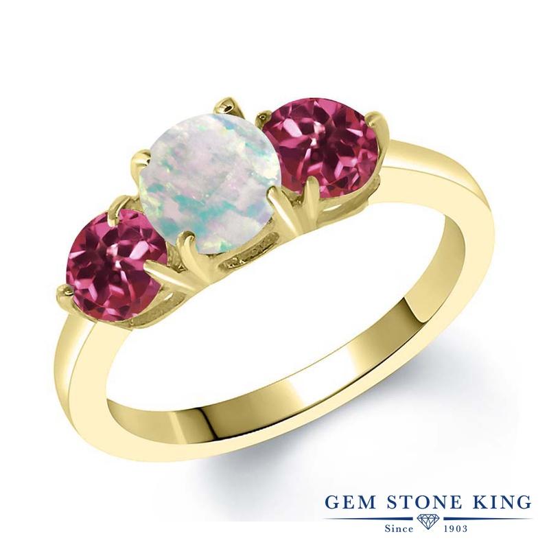 Gem Stone King 1.65カラット シミュレイテッド ホワイトオパール AAAグレード 天然 ピンクトルマリン シルバー925 イエローゴールドコーティング 指輪 リング レディース シンプル スリーストーン 10月 誕生石 金属アレルギー対応 誕生日プレゼント