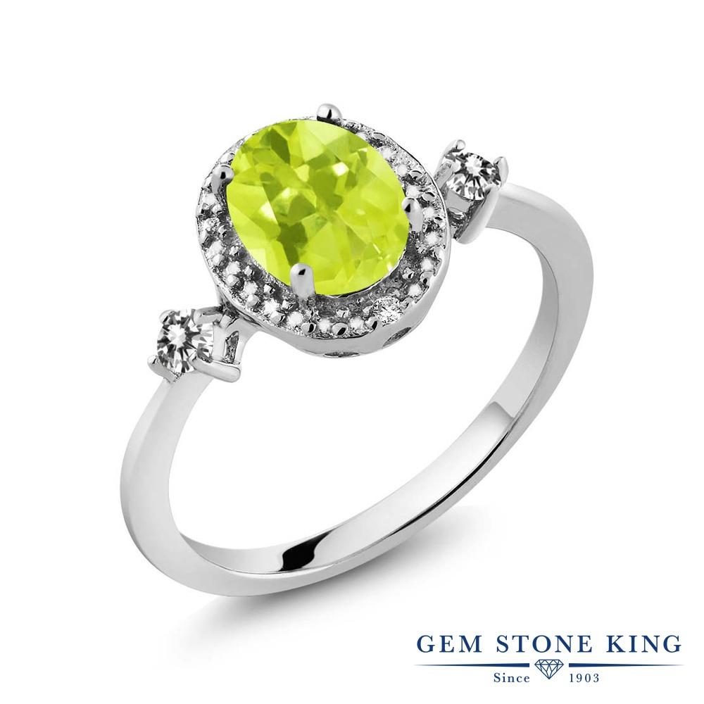 Gem Stone King 1.24カラット 天然 レモンクォーツ 天然 ダイヤモンド シルバー925 指輪 リング レディース 大粒 ヘイロー 天然石 金属アレルギー対応 誕生日プレゼント