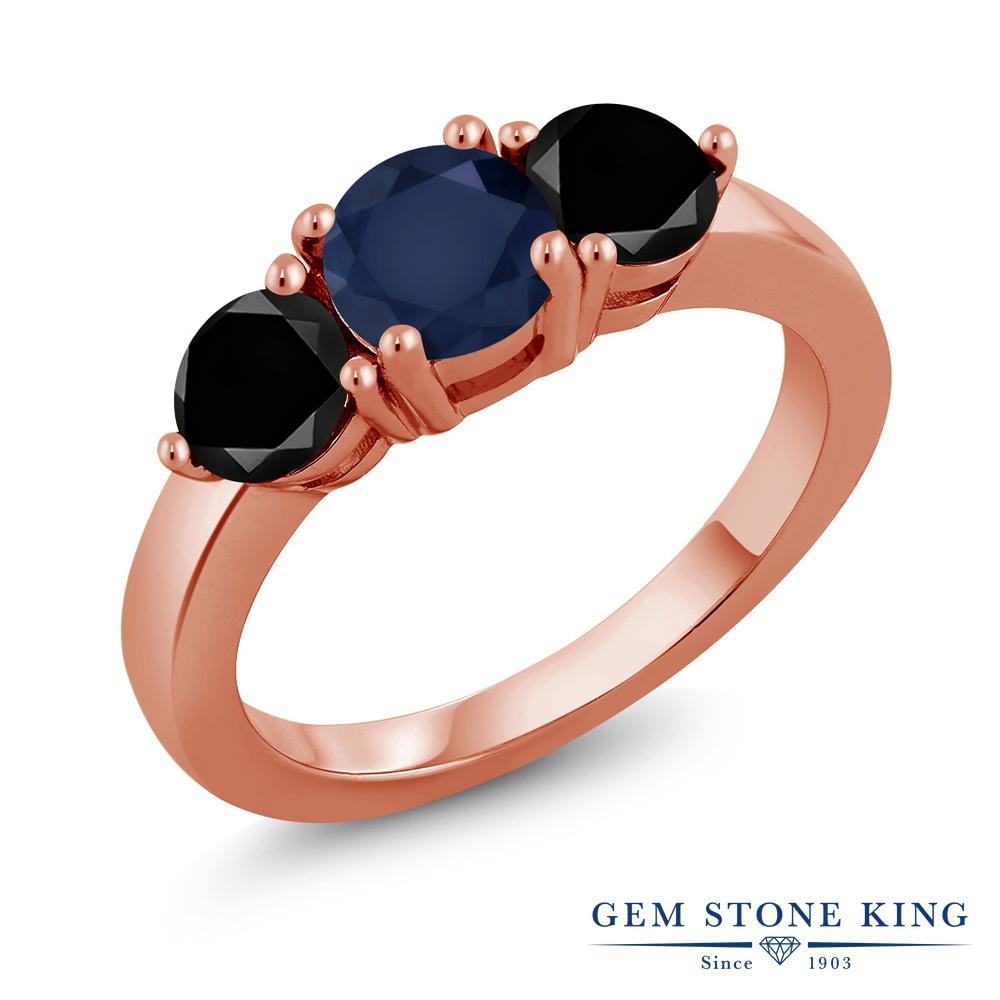 Gem Stone King 2.1カラット 天然サファイア シルバー 925 ローズゴールドコーティング 天然ブラックダイヤモンド 指輪 リング レディース 大粒 シンプル 天然石 誕生石 誕生日プレゼント
