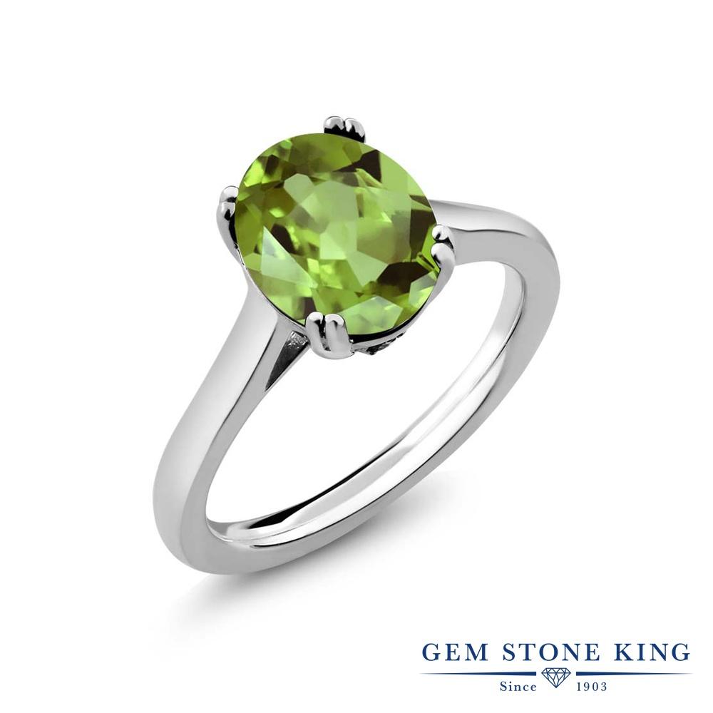 【10%OFF】 Gem Stone King 3.03カラット 天然石 ペリドット 天然 ダイヤモンド 指輪 リング レディース シルバー925 大粒 シンプル ソリティア 8月 誕生石 クリスマスプレゼント 女性 彼女 妻 誕生日