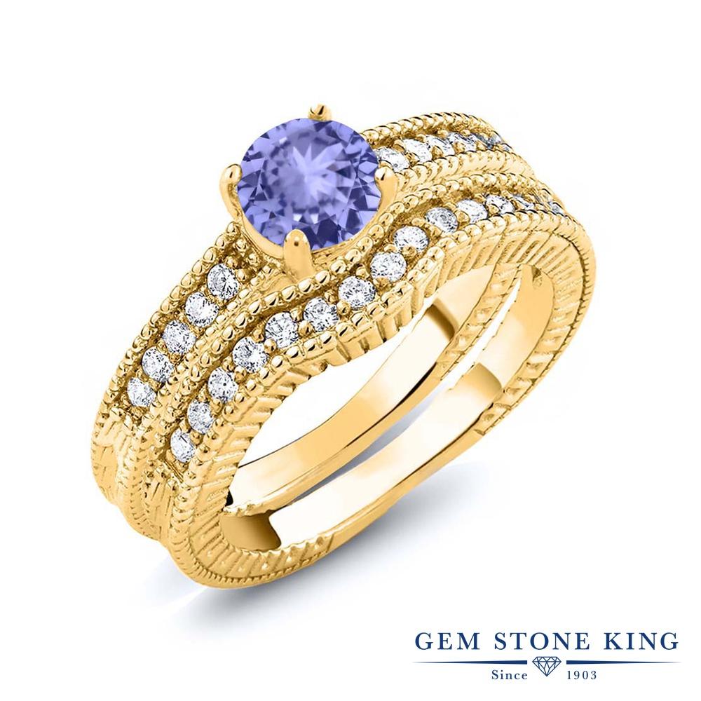Gem Stone King 1.25カラット 天然石 タンザナイト シルバー925 イエローゴールドコーティング 指輪 リング レディース エンハンサー 天然石 12月 誕生石 金属アレルギー対応 誕生日プレゼント