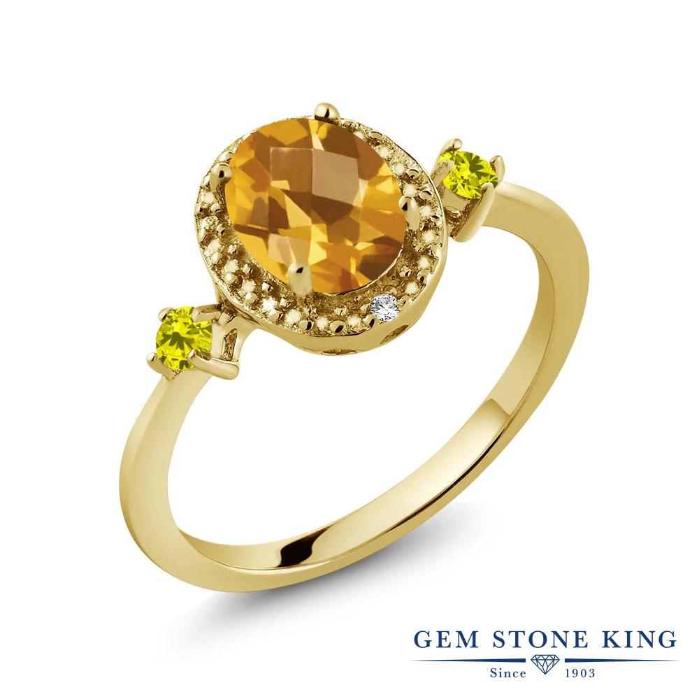 Gem Stone King 1.39カラット 天然 シトリン 天然 イエローダイヤモンド シルバー925 イエローゴールドコーティング 指輪 リング レディース 大粒 ヘイロー 天然石 11月 誕生石 金属アレルギー対応 誕生日プレゼント