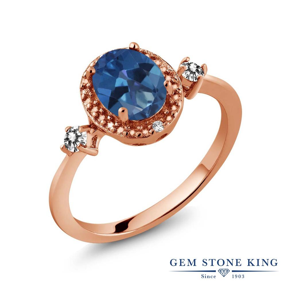 Gem Stone King 1.44カラット 天然 ミスティックトパーズ (サファイアブルー) 天然 ダイヤモンド シルバー925 ピンクゴールドコーティング 指輪 リング レディース 大粒 ヘイロー 天然石 金属アレルギー対応 誕生日プレゼント