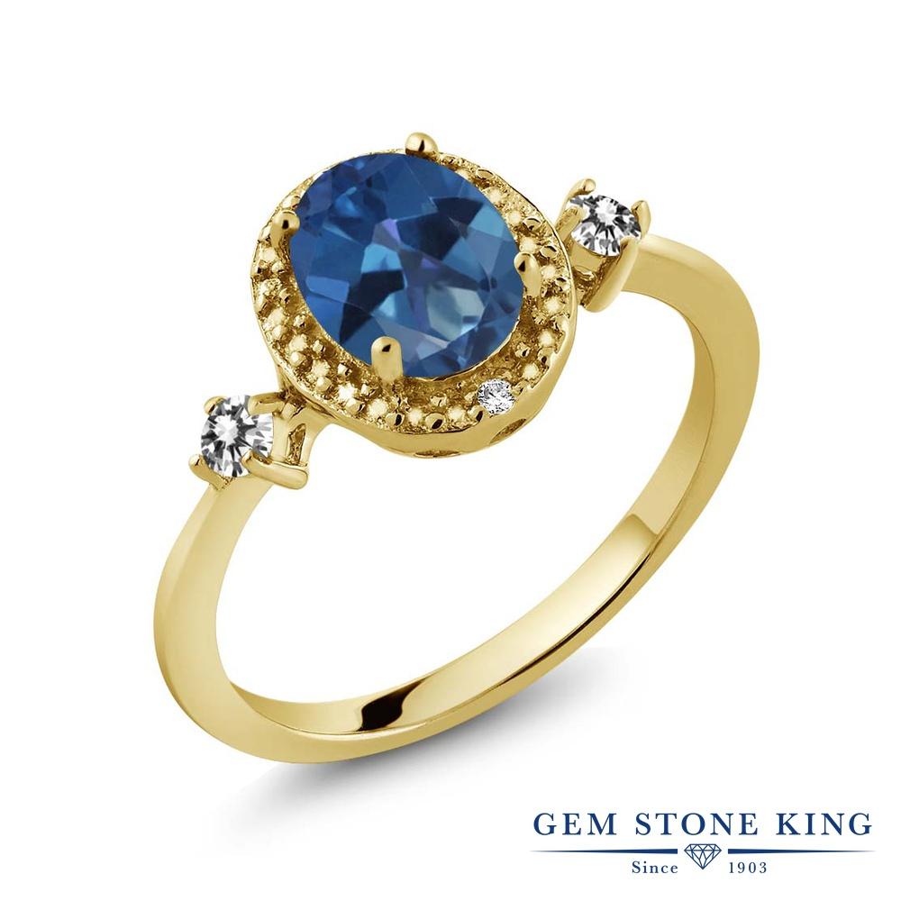【10%OFF】 Gem Stone King 1.44カラット 天然 ミスティックトパーズ (サファイアブルー) ダイヤモンド 指輪 リング レディース シルバー925 イエローゴールド 加工 大粒 ヘイロー 天然石 クリスマスプレゼント 女性 彼女 妻 誕生日