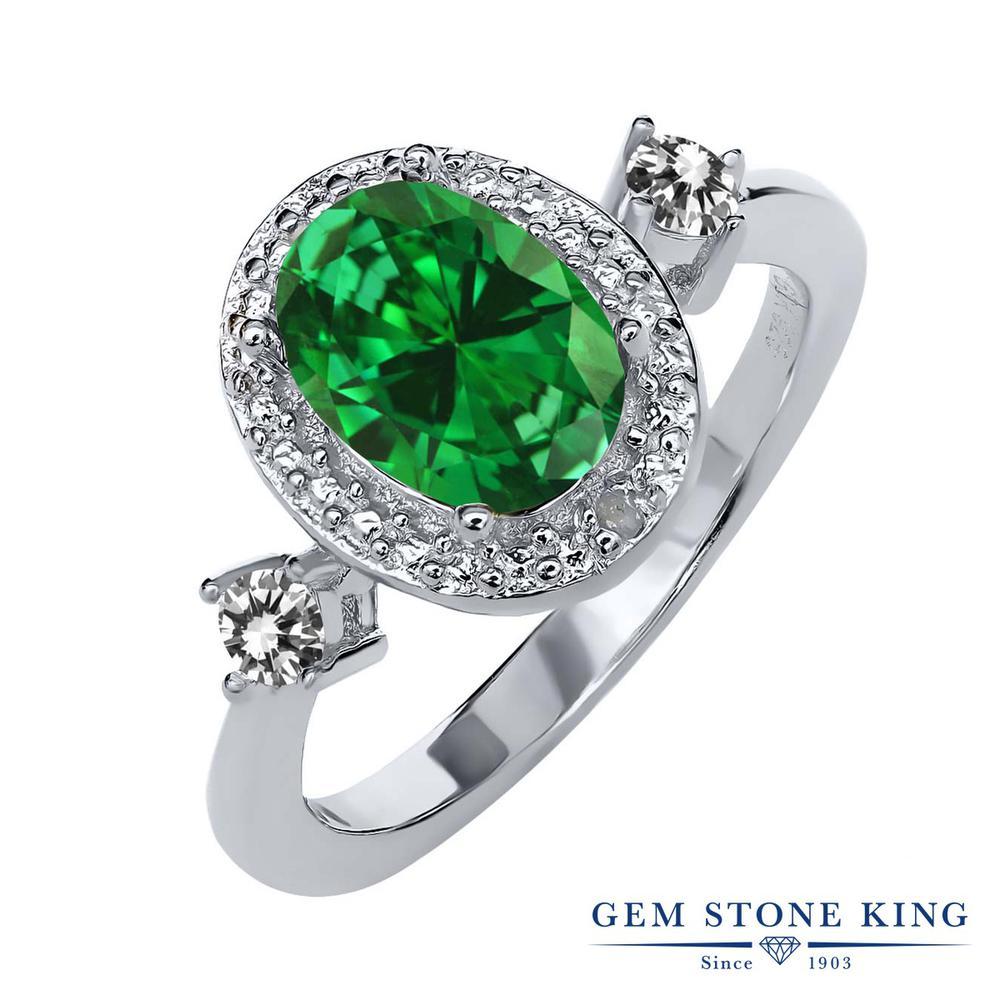 Gem Stone King 2.24カラット ナノエメラルド 天然 ダイヤモンド シルバー925 指輪 リング レディース 大粒 ヘイロー 金属アレルギー対応 誕生日プレゼント