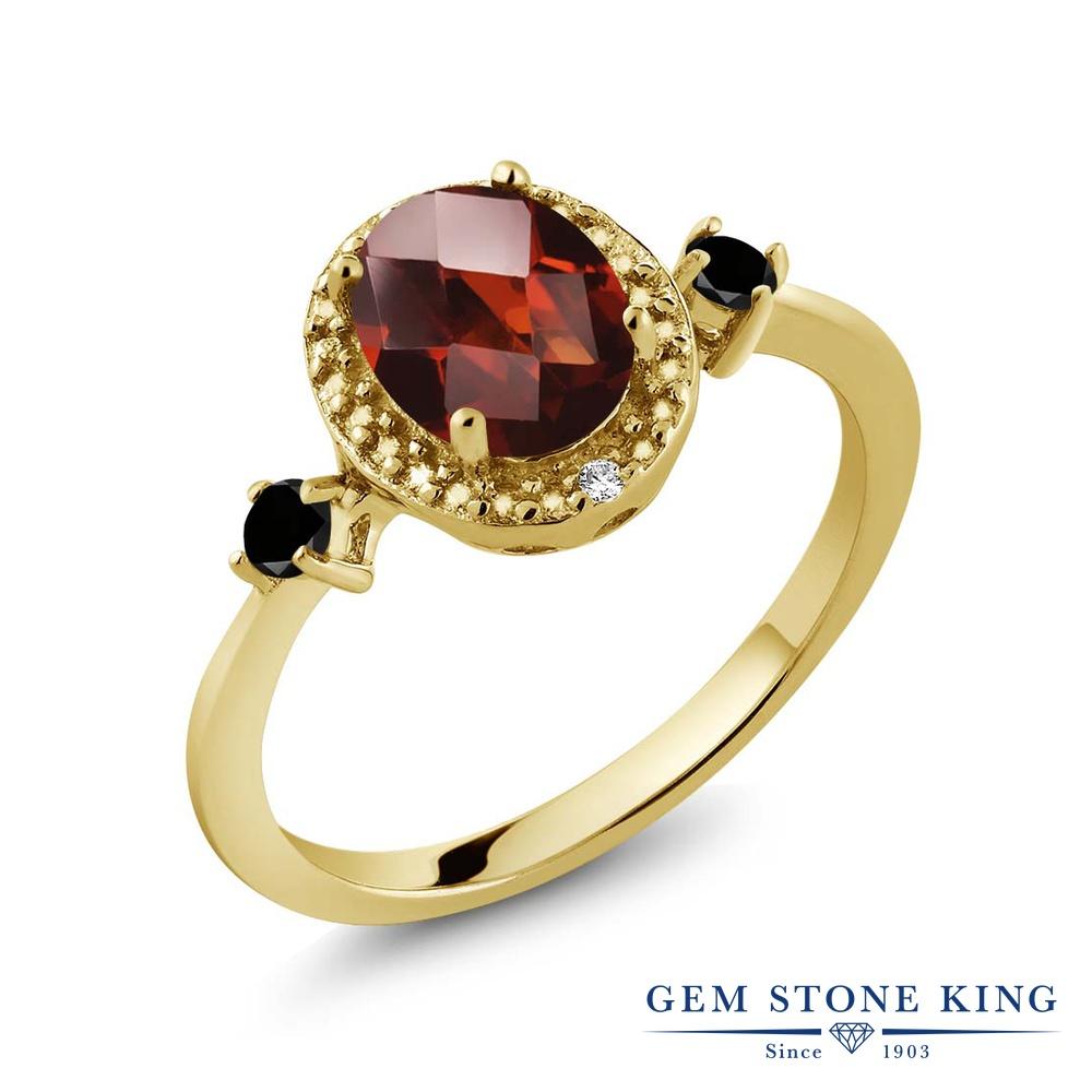 Gem Stone King 1.54カラット 天然 ガーネット ブラックダイヤモンド 指輪 リング レディース シルバー925 イエローゴールド 加工 大粒 ヘイロー 天然石 1月 誕生石 金属アレルギー対応