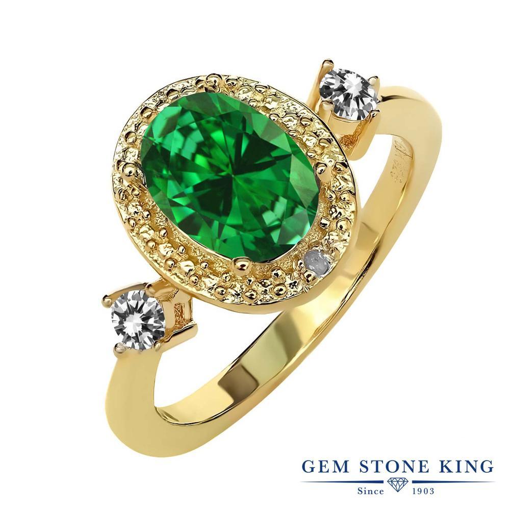 Gem Stone King 2.24カラット ナノエメラルド 天然 ダイヤモンド シルバー925 イエローゴールドコーティング 指輪 リング レディース 大粒 ヘイロー 金属アレルギー対応 誕生日プレゼント