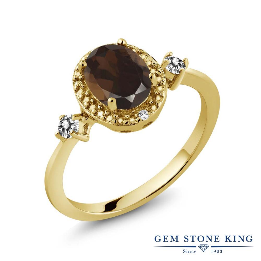Gem Stone King 1.34カラット 天然 スモーキークォーツ (ブラウン) 天然 ダイヤモンド シルバー925 イエローゴールドコーティング 指輪 リング レディース 大粒 ヘイロー 天然石 金属アレルギー対応 誕生日プレゼント