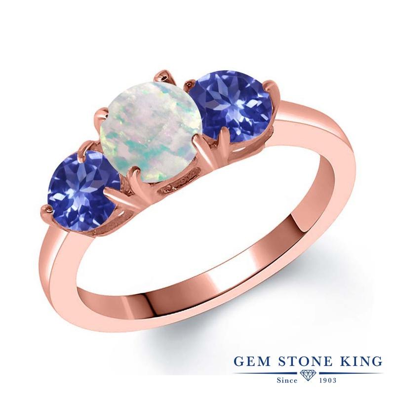 Gem Stone King 1.57カラット シミュレイテッド ホワイトオパール シルバー925 ピンクゴールドコーティング 指輪 リング レディース シンプル スリーストーン 10月 誕生石 金属アレルギー対応 誕生日プレゼント
