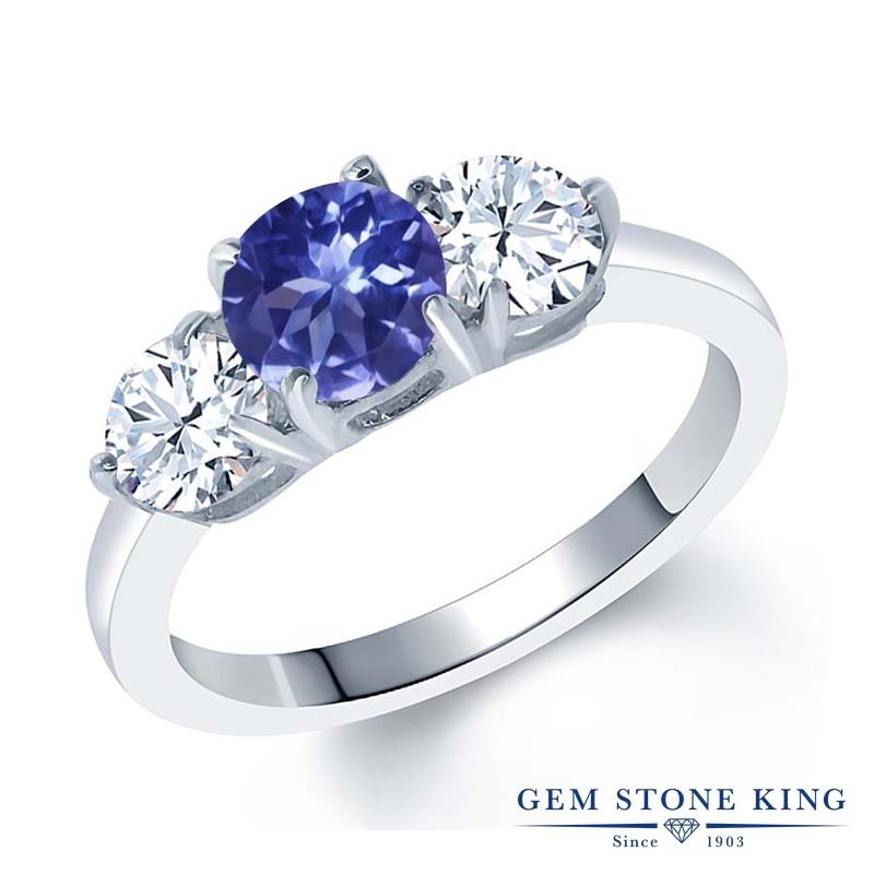 Gem Stone King 2.02カラット 天然 トパーズ (無色透明) シルバー925 指輪 リング レディース シンプル スリーストーン 天然石 金属アレルギー対応 誕生日プレゼント