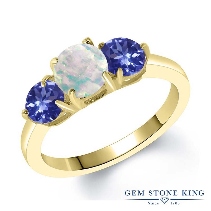 Gem Stone King 1.57カラット シミュレイテッド ホワイトオパール シルバー925 イエローゴールドコーティング 指輪 リング レディース シンプル スリーストーン 10月 誕生石 金属アレルギー対応 誕生日プレゼント