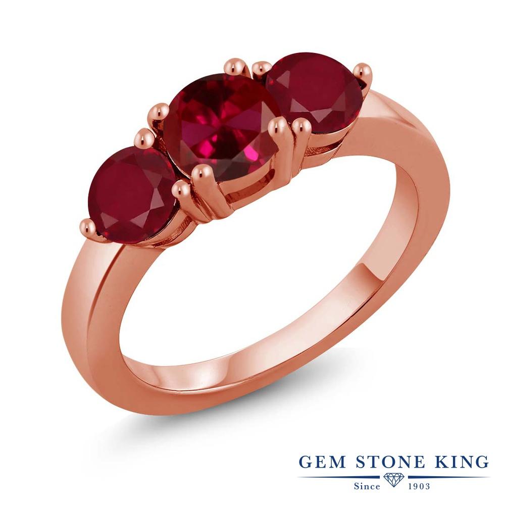 Gem Stone King 2.12カラット 合成ルビー 天然 ルビー シルバー925 ピンクゴールドコーティング 指輪 リング レディース 大粒 シンプル スリーストーン 金属アレルギー対応 誕生日プレゼント