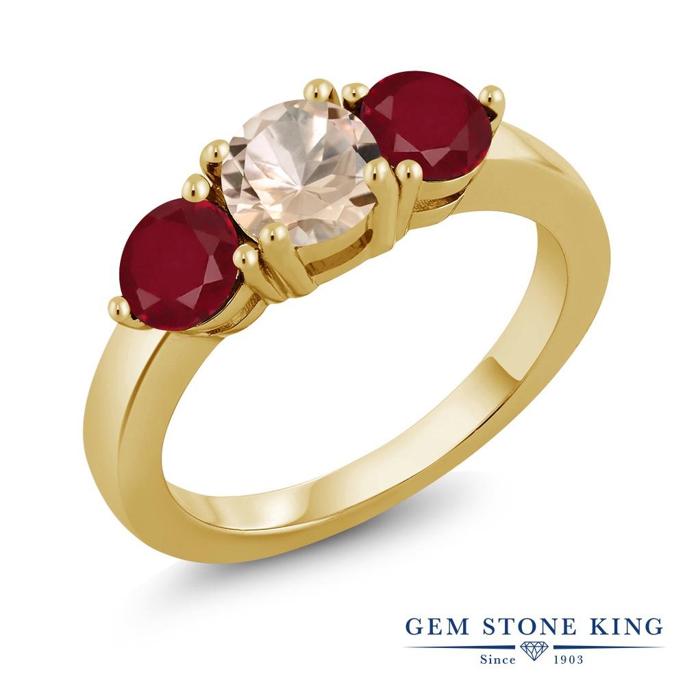 【10%OFF】 Gem Stone King 1.7カラット 天然 モルガナイト (ピーチ) ルビー 指輪 リング レディース シルバー925 イエローゴールド 加工 シンプル スリーストーン 天然石 3月 誕生石 クリスマスプレゼント 女性 彼女 妻 誕生日