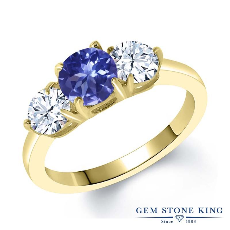 Gem Stone King 2.4カラット シルバー925 イエローゴールドコーティング 指輪 リング レディース シンプル スリーストーン 天然石 金属アレルギー対応 誕生日プレゼント
