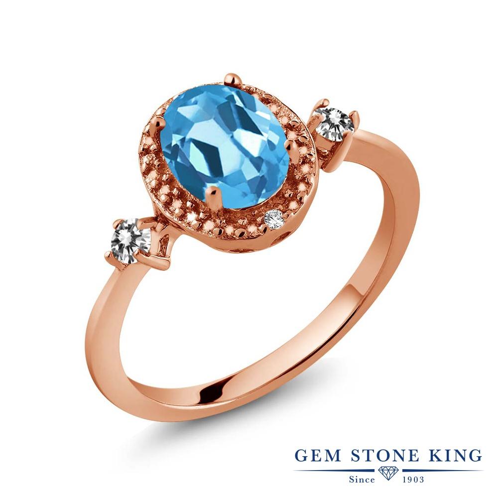 【10%OFF】 Gem Stone King 1.44カラット 天然 スイスブルートパーズ ダイヤモンド 指輪 リング レディース シルバー925 ピンクゴールド 加工 大粒 ヘイロー 天然石 11月 誕生石 クリスマスプレゼント 女性 彼女 妻 誕生日