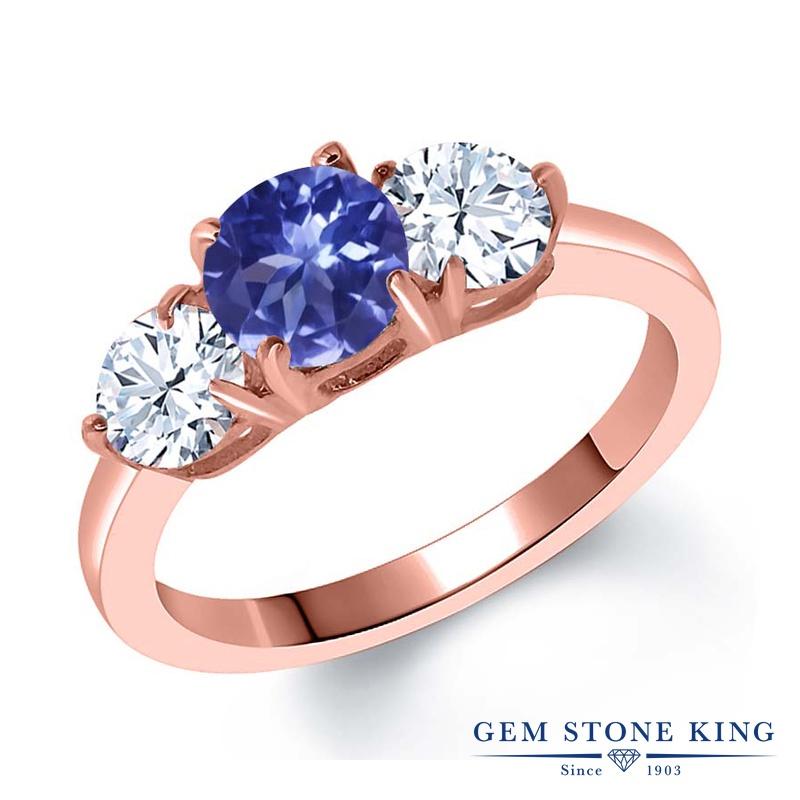 Gem Stone King 2.1カラット 天然 トパーズ (無色透明) シルバー925 ピンクゴールドコーティング 指輪 リング レディース シンプル スリーストーン 天然石 金属アレルギー対応 誕生日プレゼント