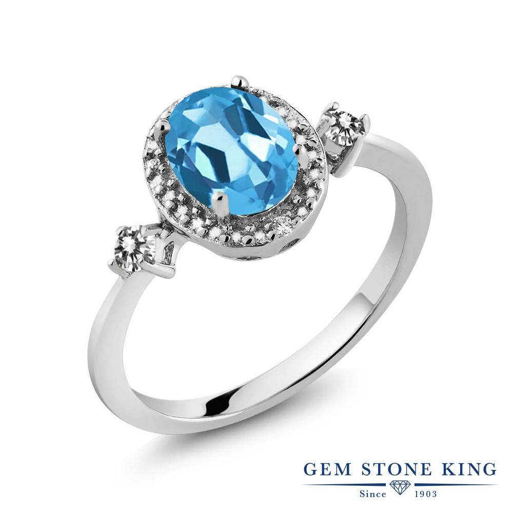 【10%OFF】 Gem Stone King 1.44カラット 天然 スイスブルートパーズ ダイヤモンド 指輪 リング レディース シルバー925 大粒 ヘイロー 天然石 11月 誕生石 クリスマスプレゼント 女性 彼女 妻 誕生日