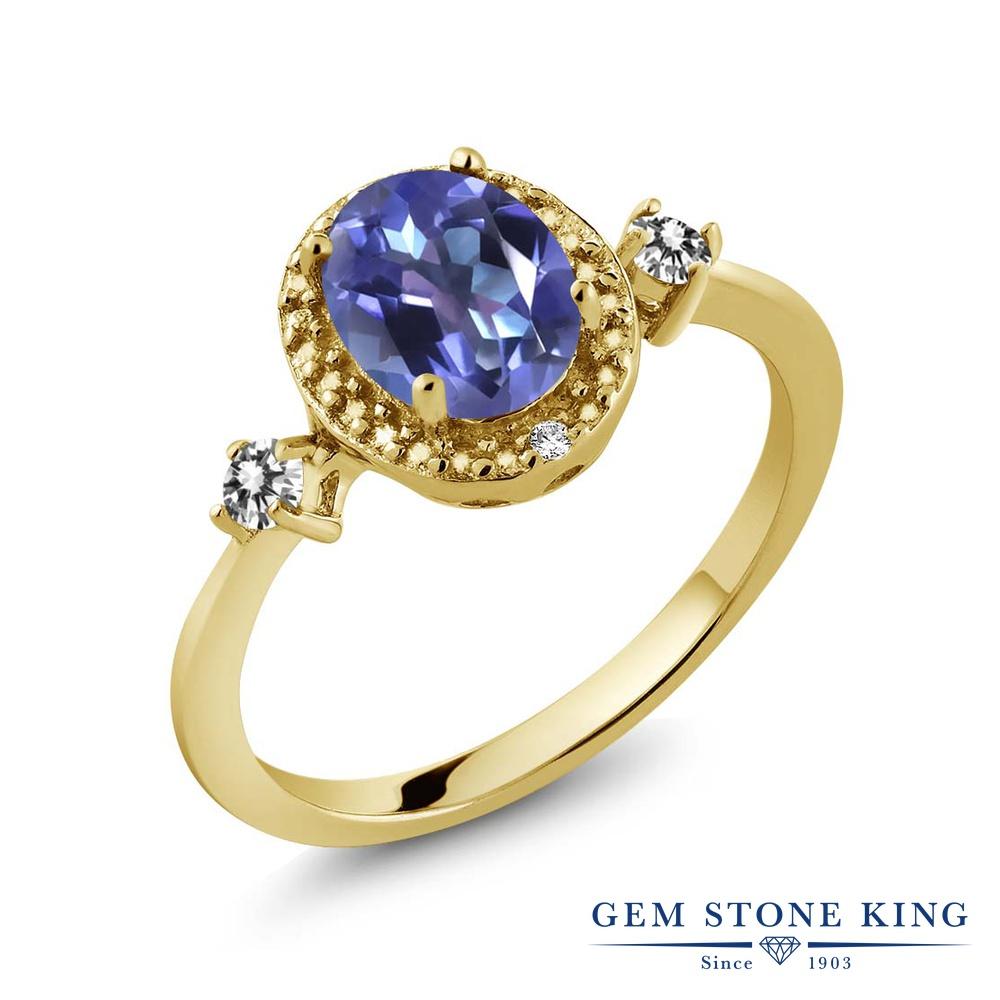 Gem Stone King 1.44カラット 天然 ミスティックトパーズ (タンザナイトブルー) 天然 ダイヤモンド シルバー925 イエローゴールドコーティング 指輪 リング レディース 大粒 ヘイロー 天然石 金属アレルギー対応 誕生日プレゼント