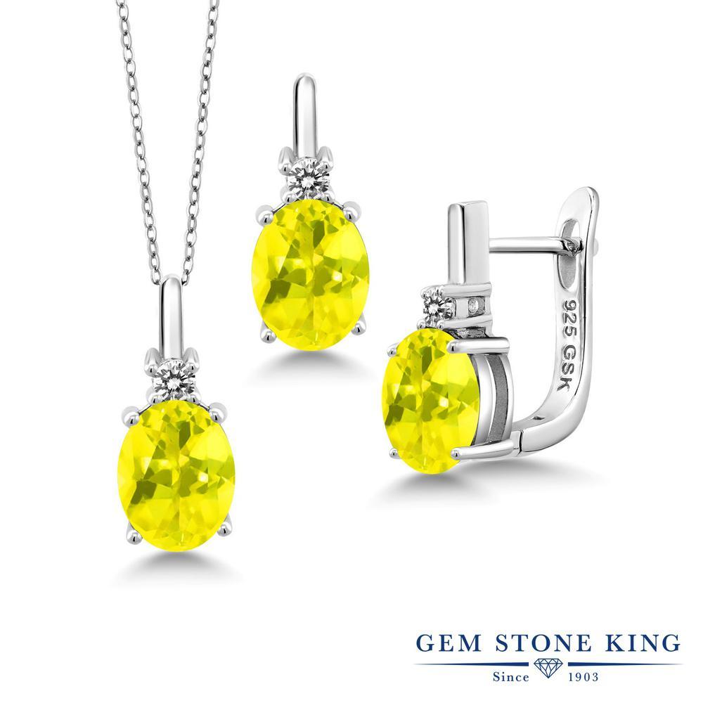 Gem Stone King 6.97カラット 天然石 ミスティックトパーズ(イエロー) シルバー925 天然ダイヤモンド ペンダント&ピアスセット レディース 大粒 天然石 誕生日プレゼント