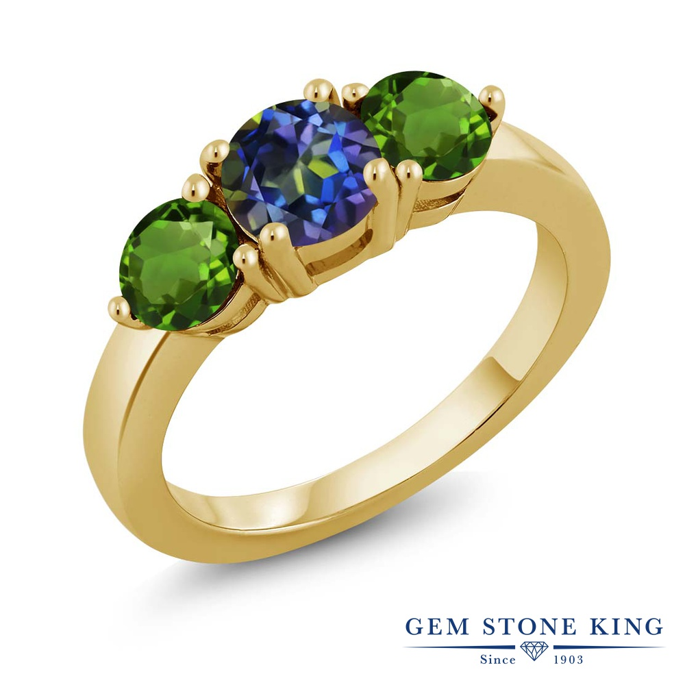 Gem Stone King 1.8カラット 天然石 ミスティックトパーズ (ブルー) 天然 クロムダイオプサイド 指輪 リング レディース シルバー925 イエローゴールド 加工 シンプル スリーストーン 金属アレルギー対応
