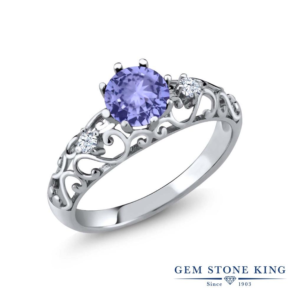 0.88カラット 指輪 レディース リング シルバー925 ブランド おしゃれ アラベスク 細工 青 シンプル ダブルストーン 天然石 プレゼント 女性 彼女 妻 誕生日