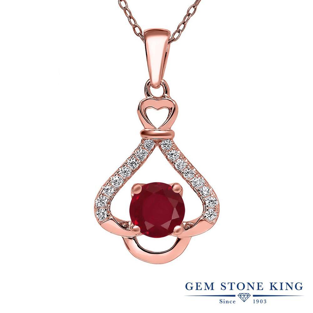 Gem Stone King 1.21カラット 天然 ルビー シルバー925 ピンクゴールドコーティング ネックレス ペンダント レディース 大粒 天然石 7月 誕生石 金属アレルギー対応 誕生日プレゼント