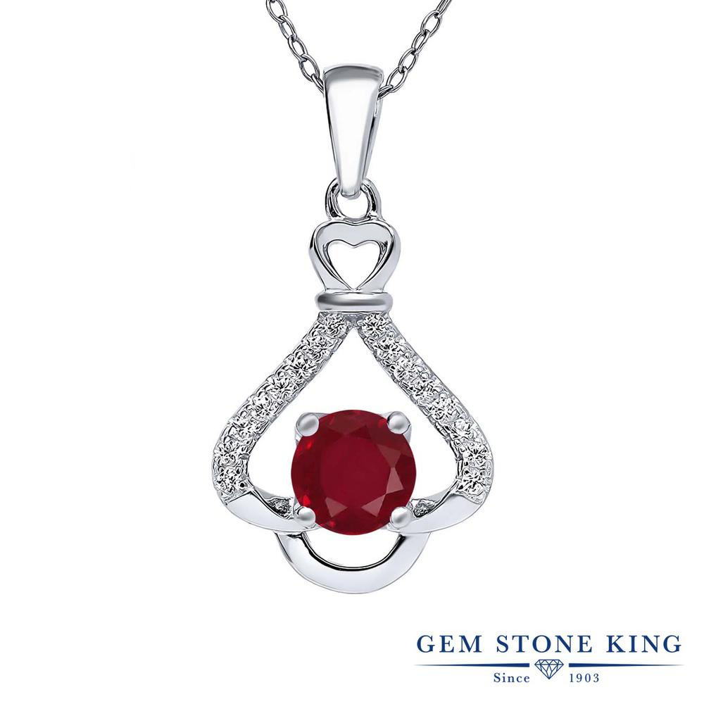 Gem Stone King 1.21カラット 天然 ルビー シルバー925 ネックレス ペンダント レディース 大粒 天然石 7月 誕生石 金属アレルギー対応 誕生日プレゼント