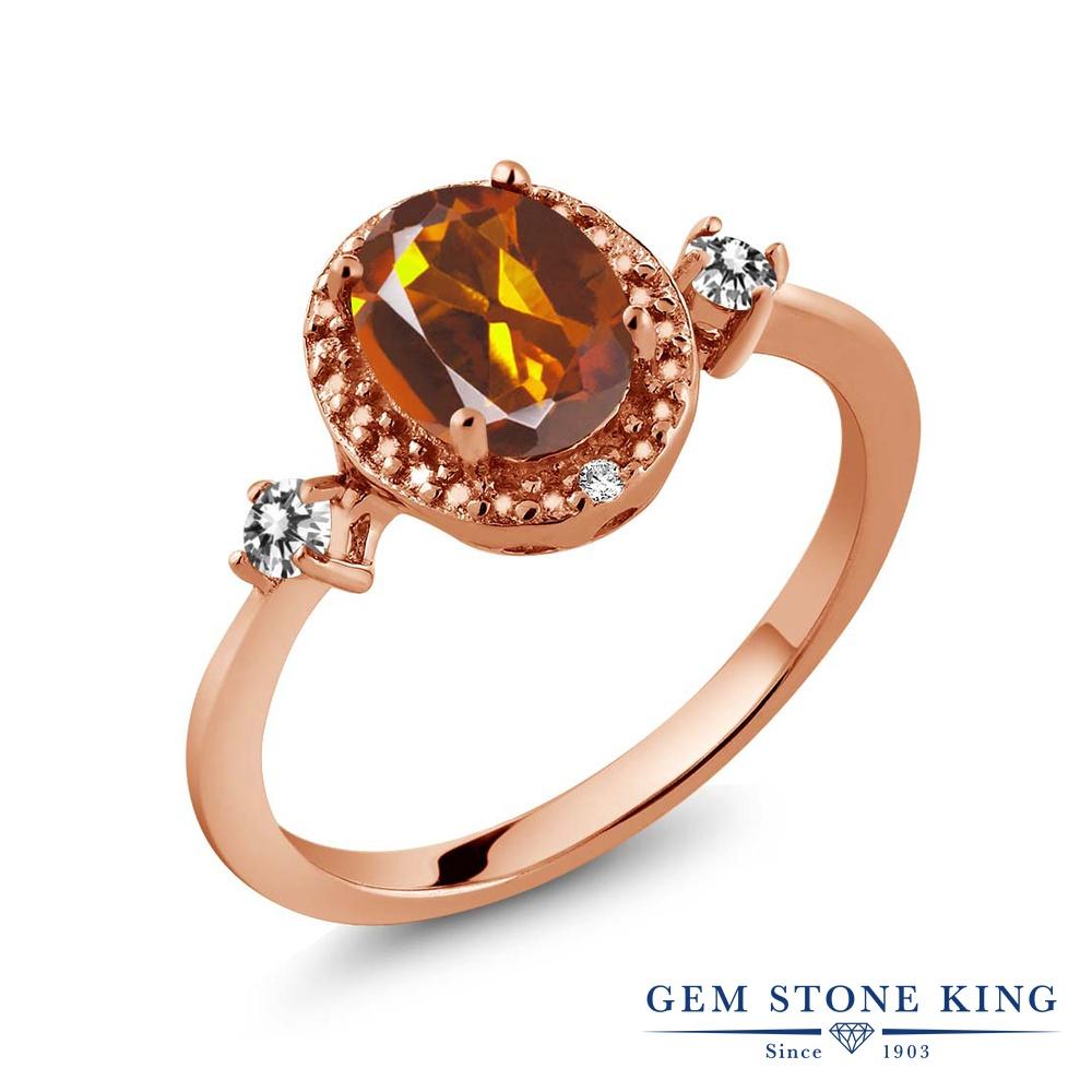 Gem Stone King 1.24カラット 天然 マデイラシトリン (オレンジレッド) 天然 ダイヤモンド シルバー925 ピンクゴールドコーティング 指輪 リング レディース 大粒 ヘイロー 天然石 金属アレルギー対応 誕生日プレゼント