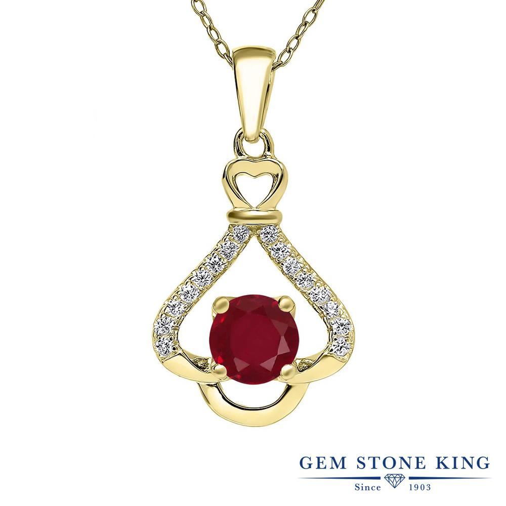 Gem Stone King 1.21カラット 天然 ルビー シルバー925 イエローゴールドコーティング ネックレス ペンダント レディース 大粒 天然石 7月 誕生石 金属アレルギー対応 誕生日プレゼント