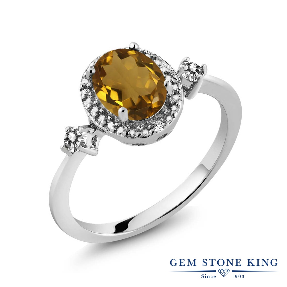 1.14カラット 天然石 ウィスキークォーツ 指輪 レディース リング 天然 ダイヤモンド シルバー925 ブランド おしゃれ 大粒 ヘイロー プレゼント 女性 彼女 妻 誕生日