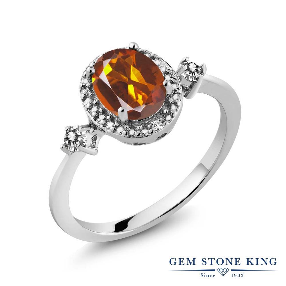 Gem Stone King 1.24カラット 天然 マデイラシトリン (オレンジレッド) 天然 ダイヤモンド シルバー925 指輪 リング レディース 大粒 ヘイロー 天然石 金属アレルギー対応 誕生日プレゼント