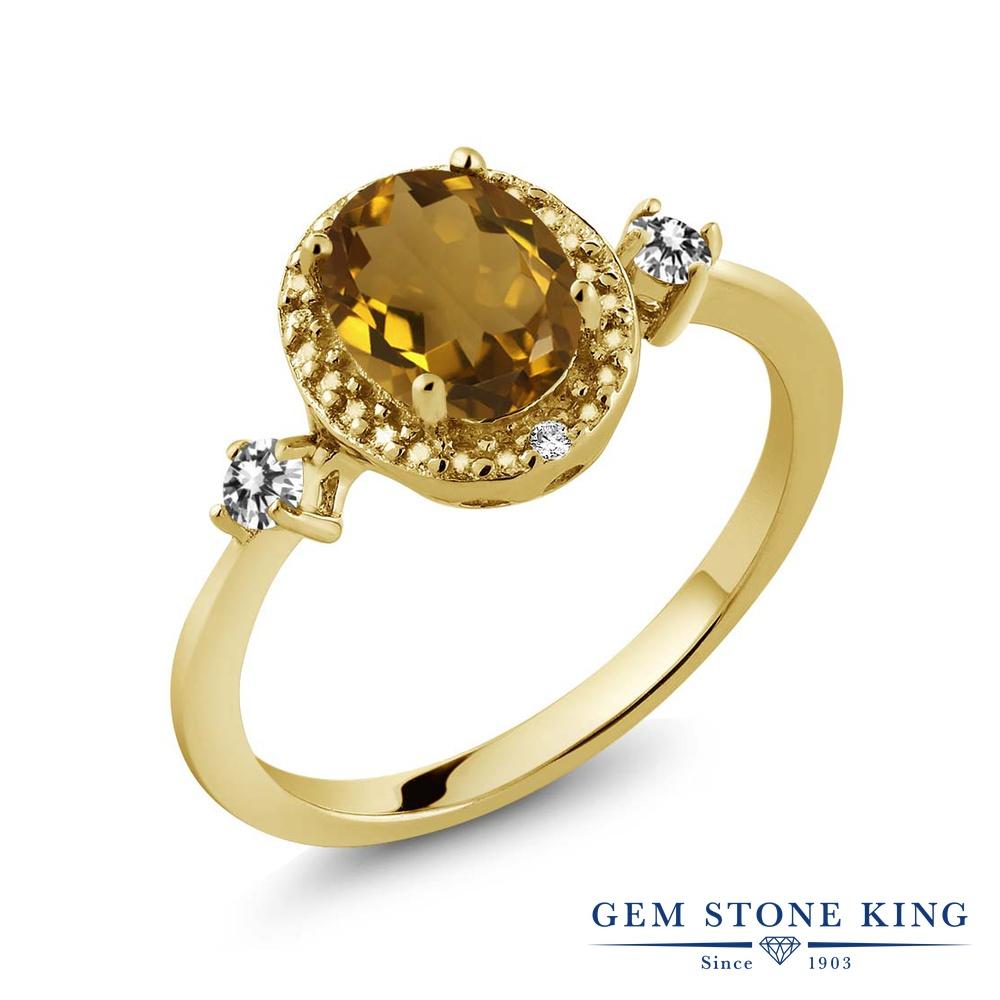 Gem Stone King 1.14カラット 天然石 ウィスキークォーツ 天然 ダイヤモンド シルバー925 イエローゴールドコーティング 指輪 リング レディース 大粒 ヘイロー 天然石 金属アレルギー対応 誕生日プレゼント
