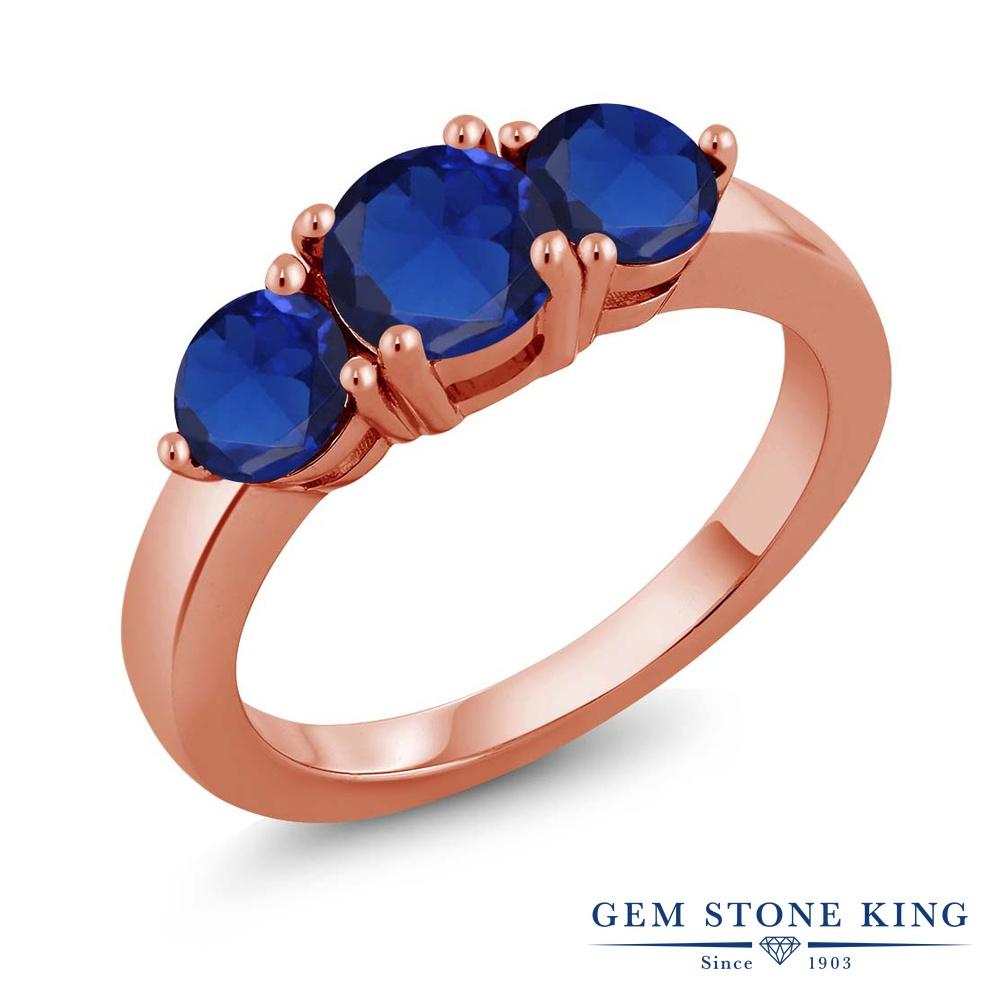2.2カラット 合成サファイア 指輪 レディース リング ピンクゴールド 加工 シルバー925 ブランド おしゃれ 3連 青 大粒 シンプル スリーストーン 金属アレルギー対応
