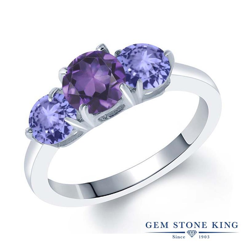 Gem Stone King 1.67カラット 天然 アメジスト 天然石 タンザナイト 指輪 リング レディース シルバー925 アメシスト シンプル スリーストーン 2月 誕生石 金属アレルギー対応