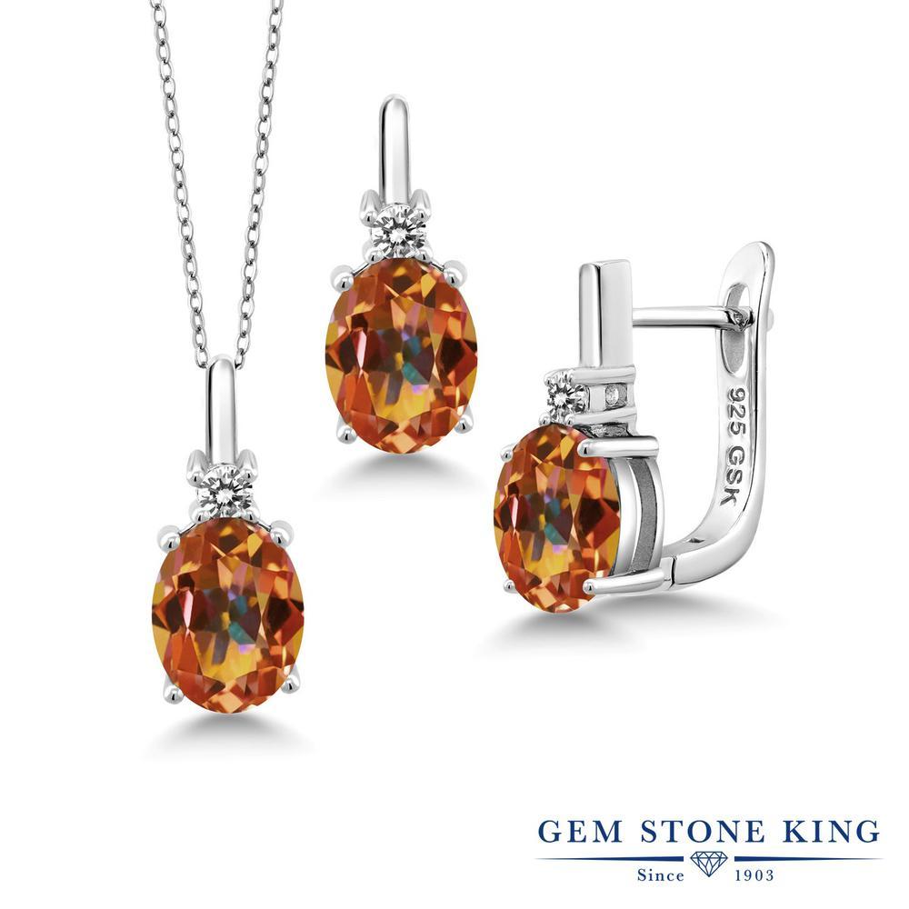 Gem Stone King 6.97カラット 天然石 エクスタシーミスティックトパーズ シルバー925 天然ダイヤモンド ペンダント&ピアスセット レディース 大粒 天然石 誕生日プレゼント