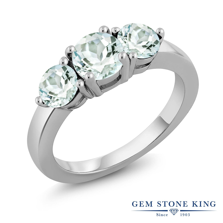 Gem Stone King 1.65カラット 天然 アクアマリン シルバー925 指輪 リング レディース スリーストーン シンプル 天然石 3月 誕生石 金属アレルギー対応 誕生日プレゼント